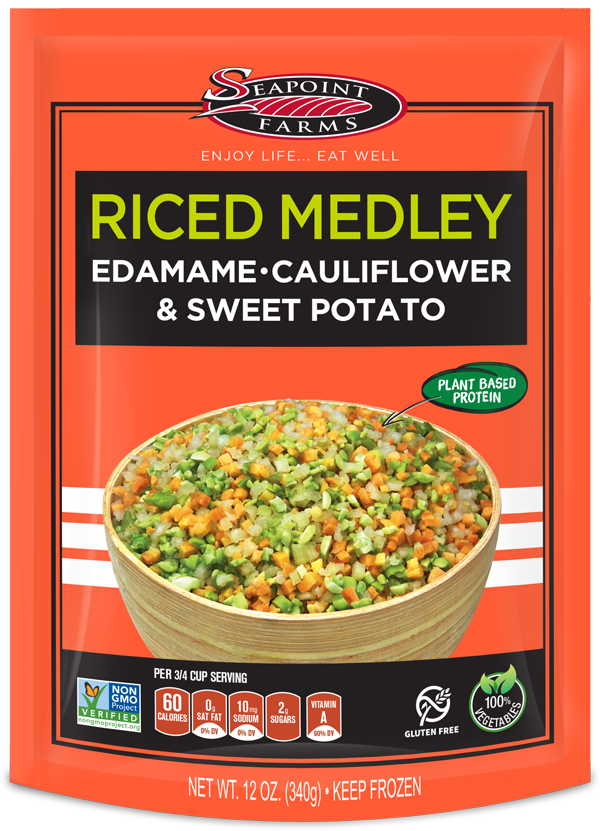 Riced Veggetable Medley with Edamame Cauliflower and Sweet Potato
