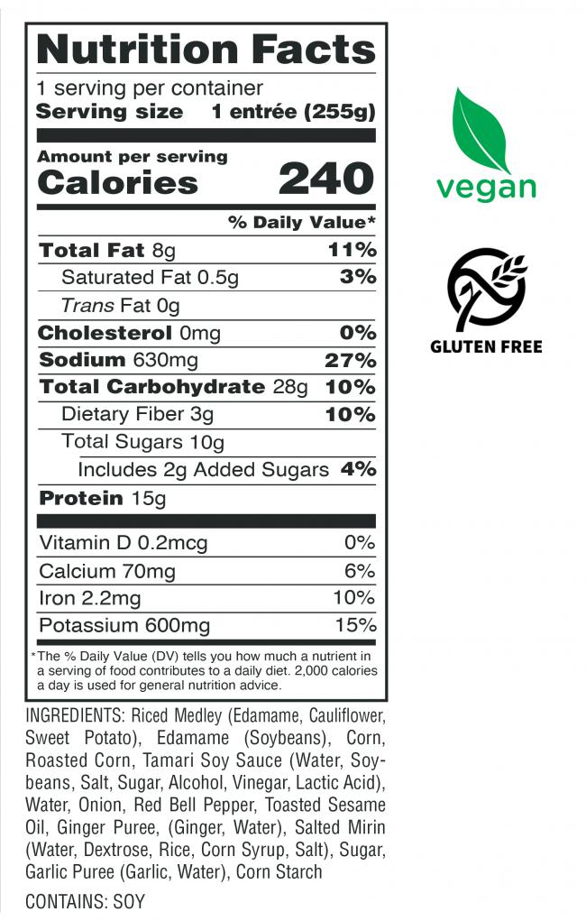 Buddha Un-Fried Rice Nutrition Facts