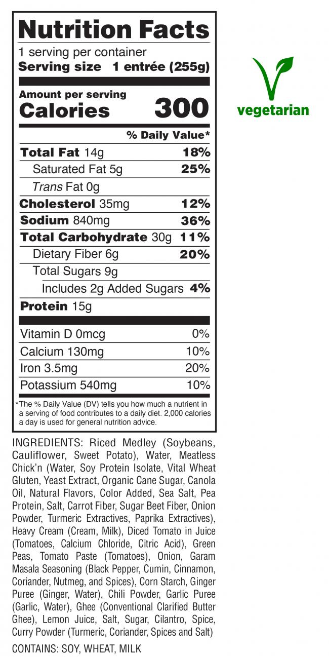 Chick'n Tikka Masala Nutrition Facts