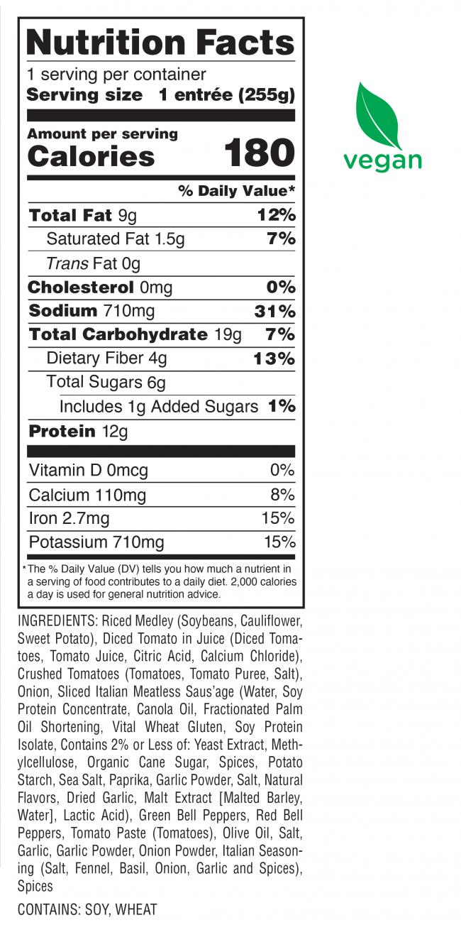 Saus'age & Peppers Nutrition Facts