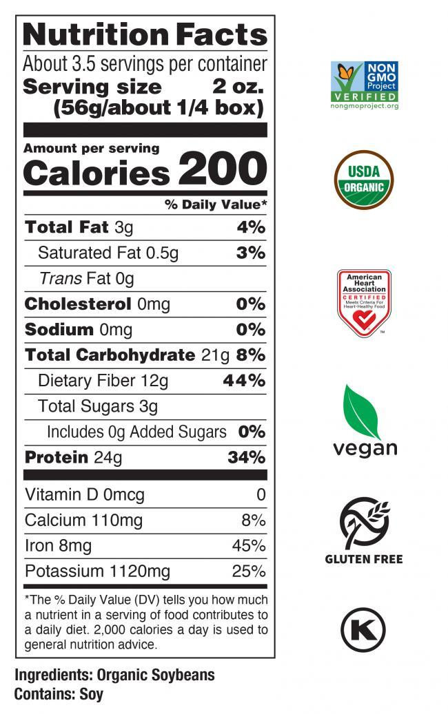 Organic<br> Edamame Spaghetti Nutrition Facts