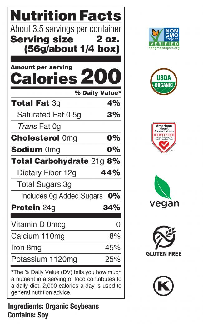 Organic<br> Edamame Fettuccine Nutrition Facts