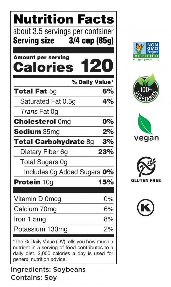 Riced Edamame Nutrition Facts