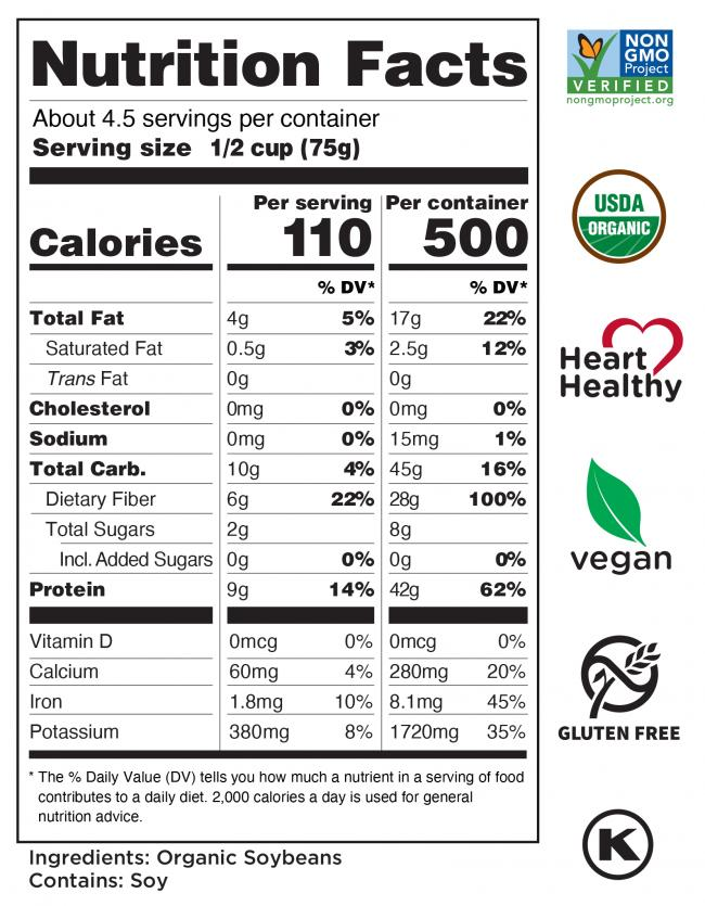 Organic<br> Shelled Soybeans Nutrition Facts
