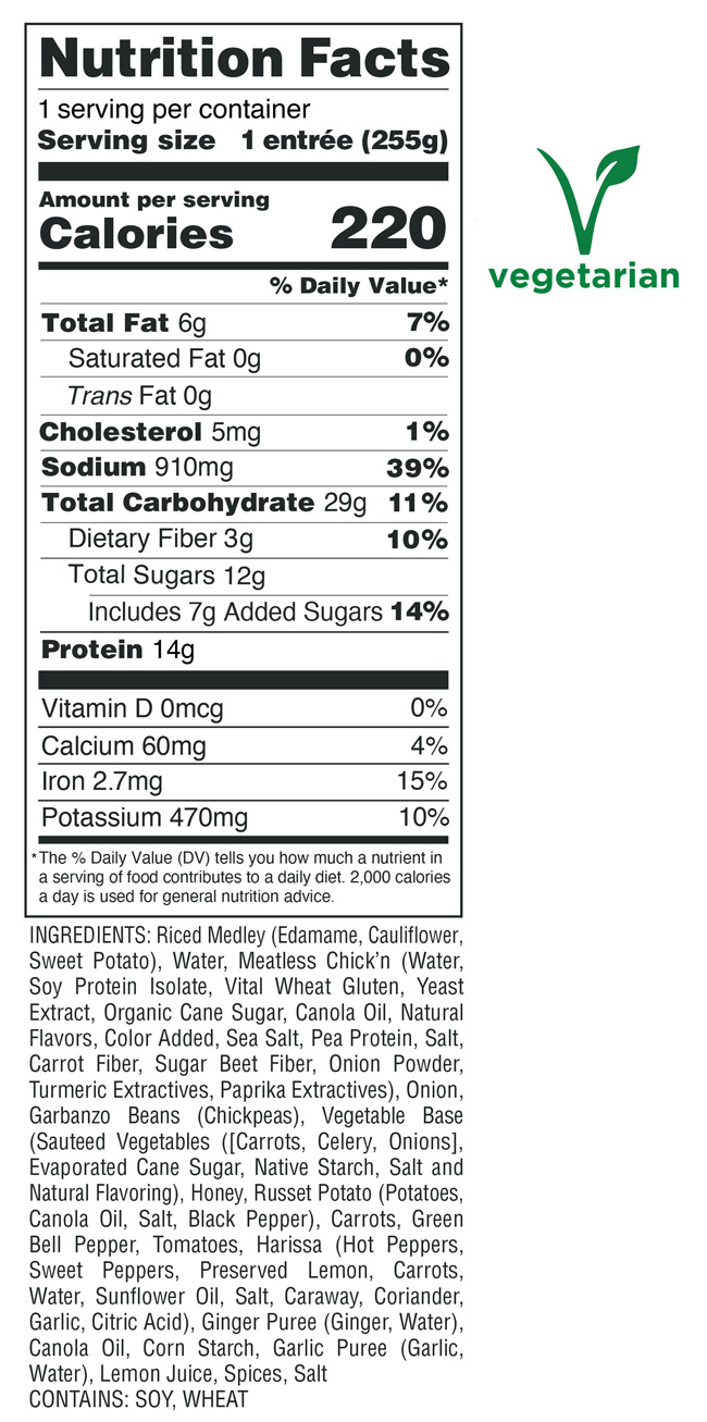 Chick'n Moroccan Stew Nutrition Facts